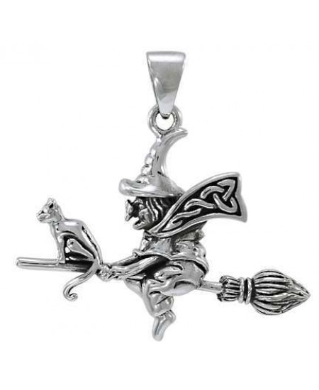 Classic Witch Riding Broom Sterling Silver Pendant at Mystic Convergence Metaphysical Supplies, Metaphysical Supplies, Pagan Jewelry, Witchcraft Supply, New Age Spiritual Store