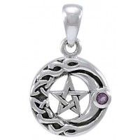 Moon Pentacle with Amethyst Small Silver Pendant