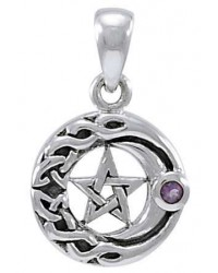 Moon Pentacle with Amethyst Small Silver Pendant Mystic Convergence Metaphysical Supplies Metaphysical Supplies, Pagan Jewelry, Witchcraft Supply, New Age Spiritual Store