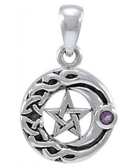 Moon Pentacle with Amethyst Small Silver Pendant at Mystic Convergence Metaphysical Supplies, Metaphysical Supplies, Pagan Jewelry, Witchcraft Supply, New Age Spiritual Store