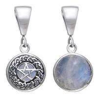 Celtic Hidden Pentacle Sterling Silver Moonstone Pendant