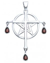 Cross over Pentacle Sterling Silver Pendant Mystic Convergence Metaphysical Supplies Metaphysical Supplies, Pagan Jewelry, Witchcraft Supply, New Age Spiritual Store