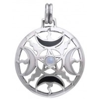 Magick Moon Silver Pendant with Gemstone