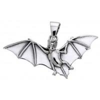 Bat in Flight Sterling Silver Pendant