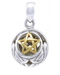 Hollow Ball Celtic Knot Pentacle Silver and Gold Pendant Mystic Convergence Metaphysical Supplies Metaphysical Supplies, Pagan Jewelry, Witchcraft Supply, New Age Spiritual Store