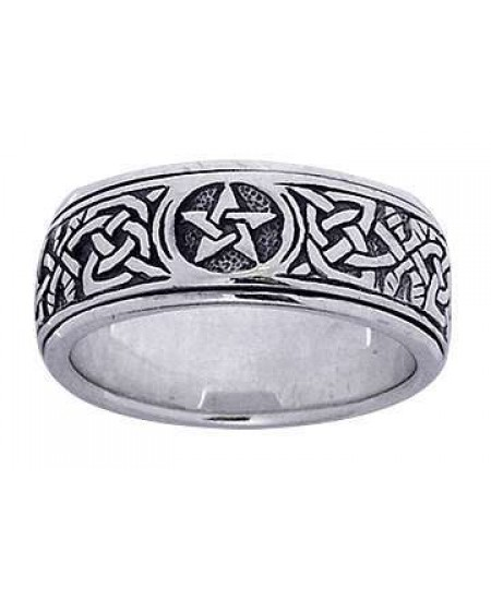 Pentacle Celtic Knot Narrow Fidget Spinner Ring at Mystic Convergence Metaphysical Supplies, Metaphysical Supplies, Pagan Jewelry, Witchcraft Supply, New Age Spiritual Store