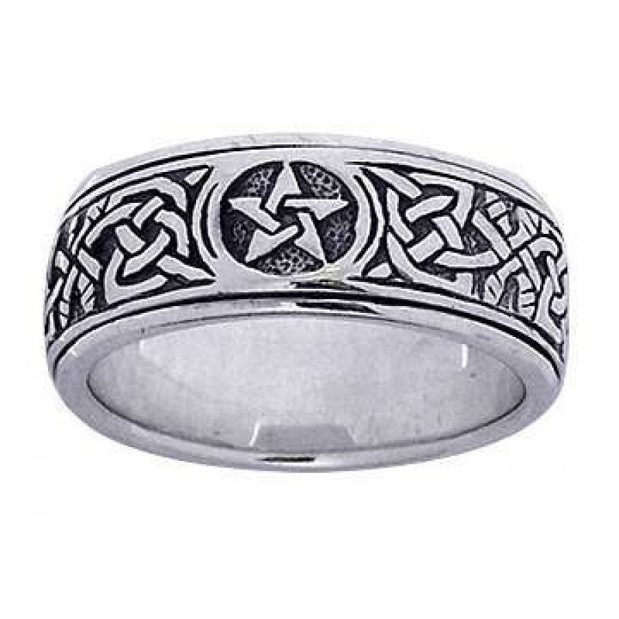 Pentacle Celtic Knot Narrow Fidget Spinner Ring At Mystic Convergence Magical Supplies Wiccan