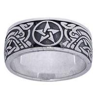 Pentacle Celtic Knot Sterling Silver Fidget Spinner Ring