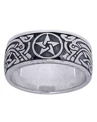 Pentacle Celtic Knot Sterling Silver Fidget Spinner Ring Mystic Convergence Metaphysical Supplies Metaphysical Supplies, Pagan Jewelry, Witchcraft Supply, New Age Spiritual Store
