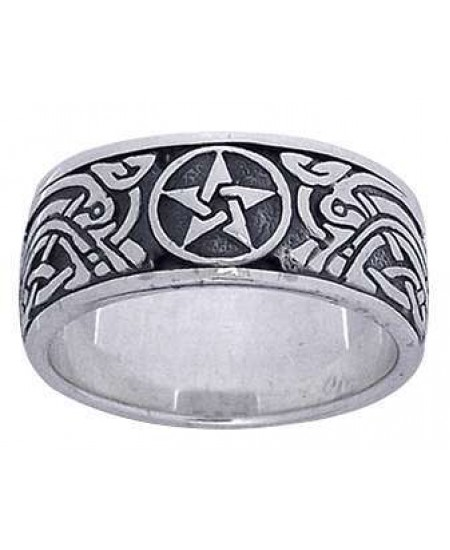 Pentacle Celtic Knot Sterling Silver Fidget Spinner Ring at Mystic Convergence Metaphysical Supplies, Metaphysical Supplies, Pagan Jewelry, Witchcraft Supply, New Age Spiritual Store