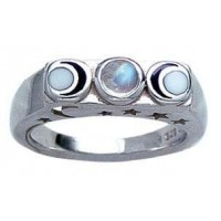 Phases of the Moon Sterling Silver Moonstone Ring