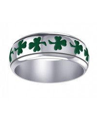 Celtic Green Shamrock Sterling Silver Fidget Spinner Ring Mystic Convergence Metaphysical Supplies Metaphysical Supplies, Pagan Jewelry, Witchcraft Supply, New Age Spiritual Store