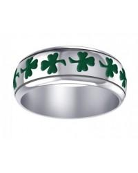 Celtic Green Shamrock Sterling Silver Fidget Spinner Ring