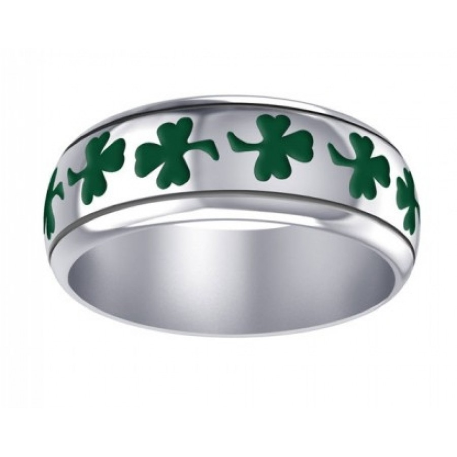 Celtic Green Shamrock Sterling Silver Fidget Spinner Ring At Mystic Convergence Magical Supplies Wiccan