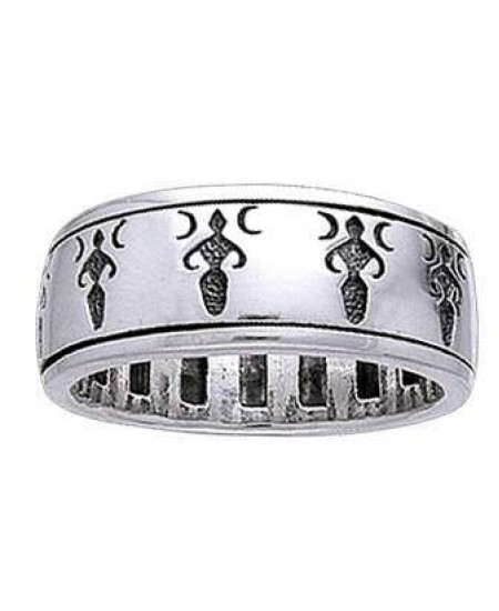 Moon Goddess Sterling Silver Fidget Spinner Ring at Mystic Convergence Metaphysical Supplies, Metaphysical Supplies, Pagan Jewelry, Witchcraft Supply, New Age Spiritual Store