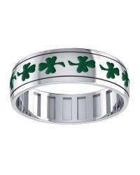 Celtic Shamrock Sterling Silver Fidget Spinner Ring