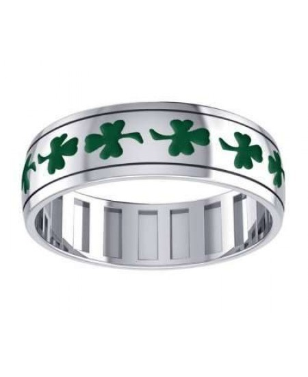 Celtic Shamrock Sterling Silver Fidget Spinner Ring at Mystic Convergence Metaphysical Supplies, Metaphysical Supplies, Pagan Jewelry, Witchcraft Supply, New Age Spiritual Store