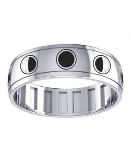 Phases of the Moon Sterling Silver Fidget Spinner Ring at Mystic Convergence Metaphysical Supplies, Metaphysical Supplies, Pagan Jewelry, Witchcraft Supply, New Age Spiritual Store