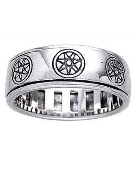 Elven Star Sterling Silver Fidget Spinner Ring at Mystic Convergence Metaphysical Supplies, Metaphysical Supplies, Pagan Jewelry, Witchcraft Supply, New Age Spiritual Store