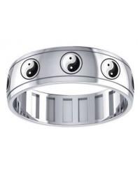 Ying Yang Sterling Silver Fidget Spinner Ring