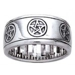 Pentacle Sterling Silver Fidget Spinner Ring at Mystic Convergence Metaphysical Supplies, Metaphysical Supplies, Pagan Jewelry, Witchcraft Supply, New Age Spiritual Store