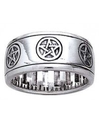 Pentacle Sterling Silver Fidget Spinner Ring Mystic Convergence Metaphysical Supplies Metaphysical Supplies, Pagan Jewelry, Witchcraft Supply, New Age Spiritual Store
