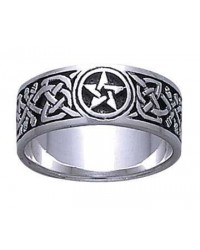Celtic Knot Pentacle Band Ring Mystic Convergence Metaphysical Supplies Metaphysical Supplies, Pagan Jewelry, Witchcraft Supply, New Age Spiritual Store