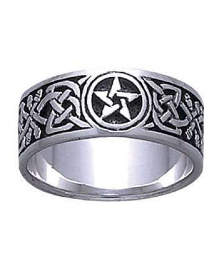 Celtic Knot Pentacle Band Ring at Mystic Convergence Metaphysical Supplies, Metaphysical Supplies, Pagan Jewelry, Witchcraft Supply, New Age Spiritual Store