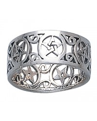 Pentacle Open Sterling Silver Ring Mystic Convergence Metaphysical Supplies Metaphysical Supplies, Pagan Jewelry, Witchcraft Supply, New Age Spiritual Store