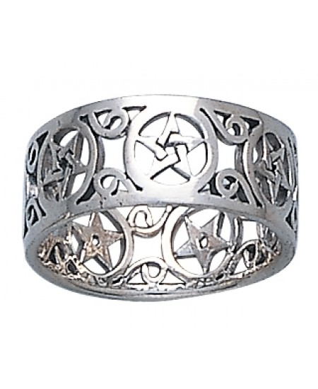 Pentacle Open Sterling Silver Ring at Mystic Convergence Metaphysical Supplies, Metaphysical Supplies, Pagan Jewelry, Witchcraft Supply, New Age Spiritual Store