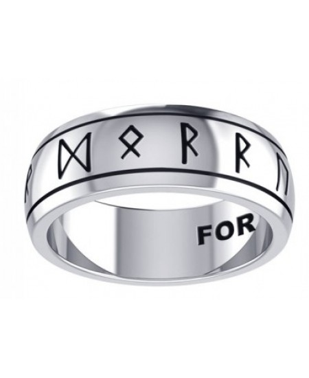 Odins Strength Runic Band Sterling Silver Fidget Spinner Ring at Mystic Convergence Metaphysical Supplies, Metaphysical Supplies, Pagan Jewelry, Witchcraft Supply, New Age Spiritual Store