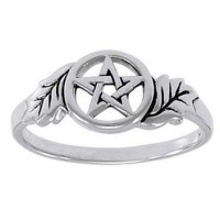 Oak Leaf Pentacle Sterling Silver Ring