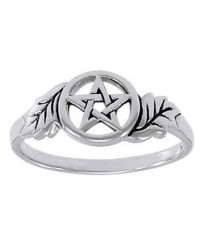 Oak Leaf Pentacle Sterling Silver Ring Mystic Convergence Metaphysical Supplies Metaphysical Supplies, Pagan Jewelry, Witchcraft Supply, New Age Spiritual Store