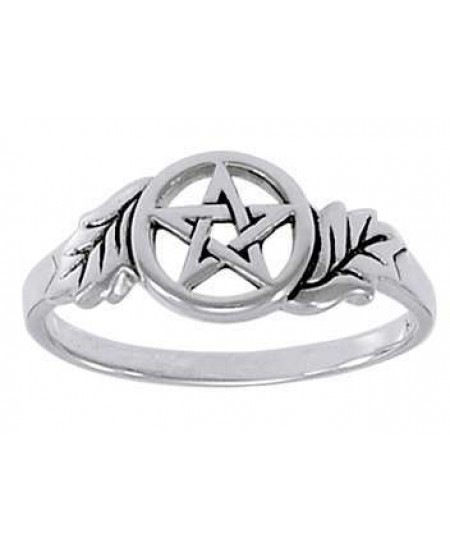 Oak Leaf Pentacle Sterling Silver Ring at Mystic Convergence Metaphysical Supplies, Metaphysical Supplies, Pagan Jewelry, Witchcraft Supply, New Age Spiritual Store