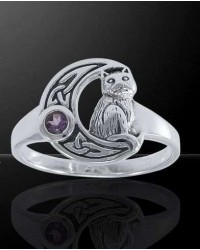 Celtic Cat and Moon Sterling Silver Ring