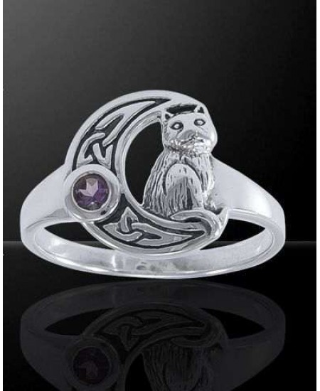 Celtic Cat and Moon Sterling Silver Ring at Mystic Convergence Metaphysical Supplies, Metaphysical Supplies, Pagan Jewelry, Witchcraft Supply, New Age Spiritual Store