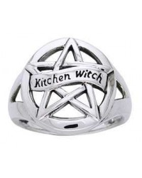 Kitchen Witch Pentacle Sterling Silver Ring Mystic Convergence Metaphysical Supplies Metaphysical Supplies, Pagan Jewelry, Witchcraft Supply, New Age Spiritual Store