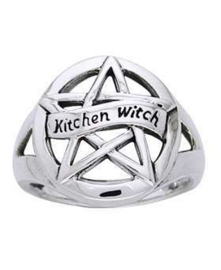 Kitchen Witch Pentacle Sterling Silver Ring