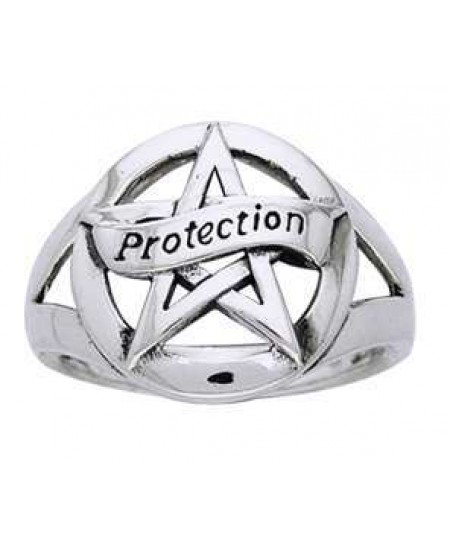 Protection Pentacle Sterling Silver Ring