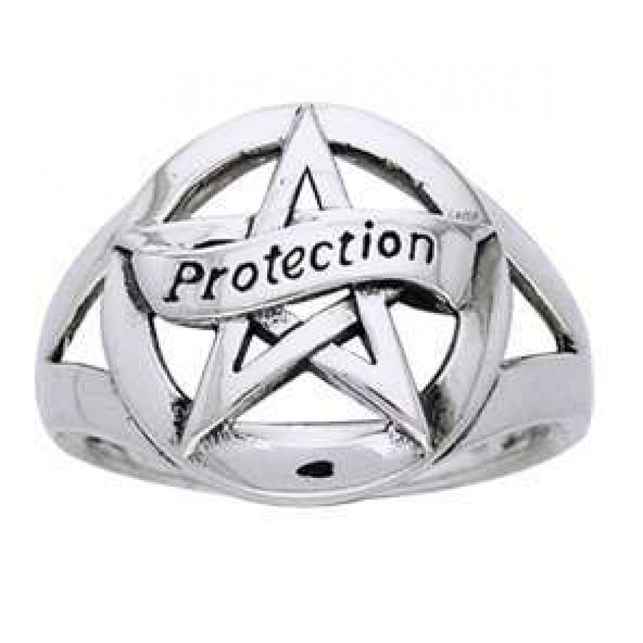 Protection Pentacle Sterling Silver Ring Pagan Jewelry Wicca