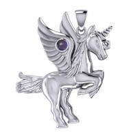 Mythical Winged Unicorn Pendant with Amethyst
