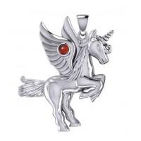 Mythical Winged Unicorn Pendant with Garnet