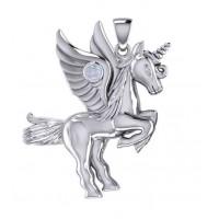 Mythical Winged Unicorn Pendant with Rainbow Moonstone