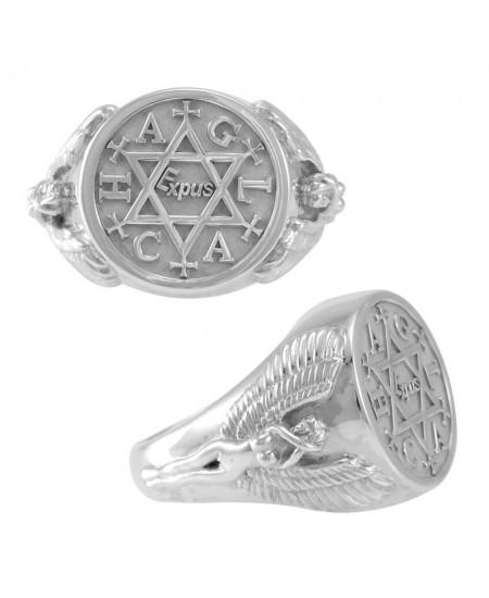 Angel Talisman Occult Large Mens Signet Ring
