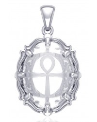 Ankh Quartz Crystal Sterling Silver Pendant