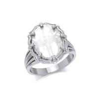 Archangel Michael Natural Clear Quartz Ring