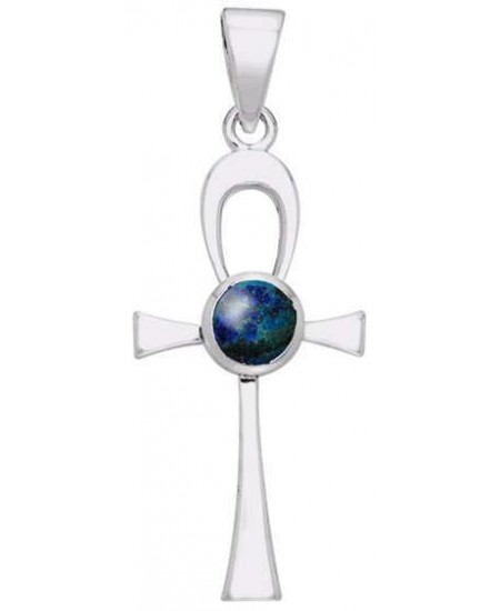 Ankh Egyptian Pendant with Azurite Gem at Mystic Convergence Metaphysical Supplies, Metaphysical Supplies, Pagan Jewelry, Witchcraft Supply, New Age Spiritual Store
