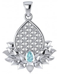 Lotus Flower of Life Blue Topaz Pendant Mystic Convergence Metaphysical Supplies Metaphysical Supplies, Pagan Jewelry, Witchcraft Supply, New Age Spiritual Store