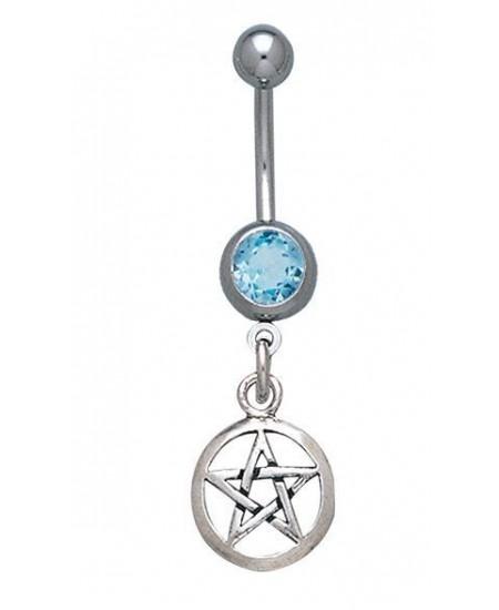 Pentacle Body Jewelry with Blue Topaz Gemstone