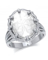 Butterfly Natural Clear Quartz Ring